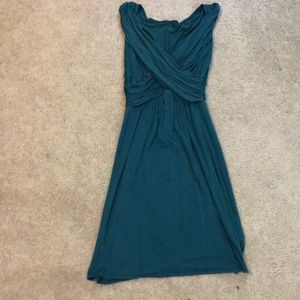 Dark Green Dress with Criss-Crossed Front